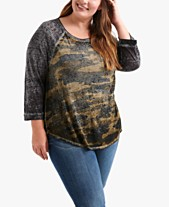 9ab2c97bc9c51 Lucky Brand Plus Size Camo-Print T-Shirt