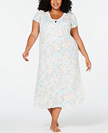 Miss Elaine Plus Size Printed Brushed Pointelle Knit Long Nightgown