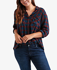 Lucky Brand Trendy Plus Size Pleat-Back Plaid Shirt