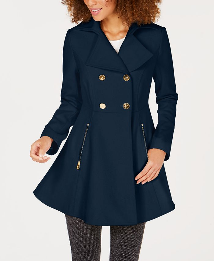Laundry by Shelli Segal - Double-Breasted Skirted Peacoat