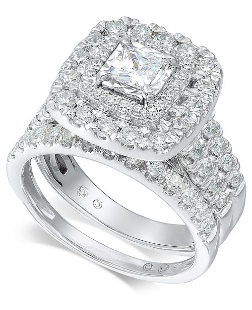 Macy's Diamond Princess Halo Bridal Set (1-1/2 ct. t.w.) in 14k White Gold