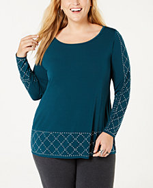 Belldini Plus Size Embellished Scoop-Neck Tunic