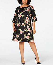 NY Collection Plus Size Floral-Print Shift Dress