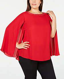 NY Collection Plus Size Embellished Cape-Sleeve Top