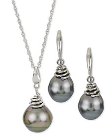Cultured Black Tahitian Pearl Necklace & Earring Collection in Sterling Silver