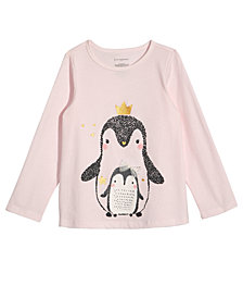 First Impressions Toddler Girls Penguin-Print Cotton T-Shirt, Created for Macy's