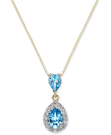 "Blue Topaz (1-1/3 ct. t.w.) & Diamond (1/6 ct. t.w.) 18"" Pendant Necklace in 14k Gold"