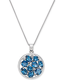 """Blue Topaz (4-1/2 ct. t.w.) & Diamond Accent Cluster 18"""" Pendant Necklace in Sterling Silver"""