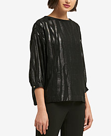 DKNY Liquid Metallic Print Top, Created for Macy's