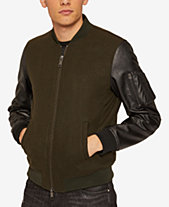 Armani Exchange Mens Wool Bomber Jacket with Faux Leather Sleeves f99666a443