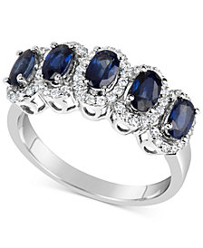 Sapphire (1-5/8 ct. t.w.) & Diamond (1/3 ct. t.w.) Ring in 14k White Gold (Also Available in Emerald & Ruby)