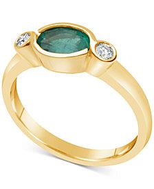 Emerald (3/4 ct. t.w.) & Diamond (1/10 ct. t.w.) Bezel Ring in 14k Gold