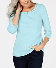 Karen Scott Petite Cotton Grommet-Neck Top, Created for Macy's