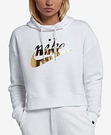 Nike Sportswear Rally Metallic-Logo Fleece Cropped Hoodie