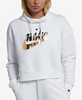 d99751268361 Nike Sportswear Rally Metallic-Logo Fleece Cropped Hoodie
