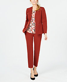 Kasper Crepe Jacket, Printed Cami & Slim Pants