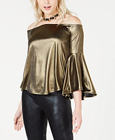 Bar III Off-The-Shoulder Metallic Top, Created for Macy's