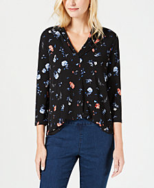 Charter Club Floral-Print V-Neck Top, Created for Macy's
