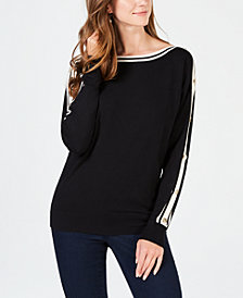 Charter Club Boat-Neck Striped-Trim Sweater, Created for Macy's