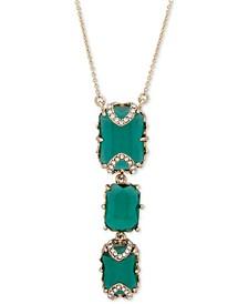 "Gold-Tone Pavé & Stone Lariat Necklace, 16"" + 2"" extender"