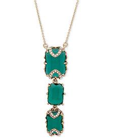 """Jenny Packham Gold-Tone Pavé & Stone Lariat Necklace, 16"""" + 2"""" extender"""