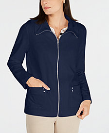 Karen Scott Petite Zip-Front Jacket, Created for Macy's