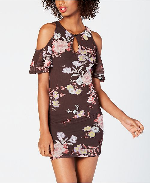 Material Girl Juniors' Cold-Shoulder Bodycon Dress, Created for Macy's