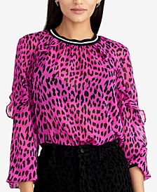 RACHEL Rachel Roy Ruffled-Sleeve Leopard-Print Top, Created for Macy's