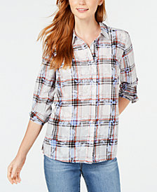 Charter Club Floral-Print Plaid Shirt, Created for Macy's