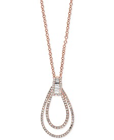 "EFFY® Diamond Double Loop 18"" Pendant Necklace (1/2 ct. t.w.) in 14k Rose Gold"