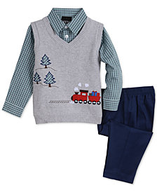 TFW Baby Boys 3-Pc. Train Sweater Vest, Plaid Shirt & Pants Set