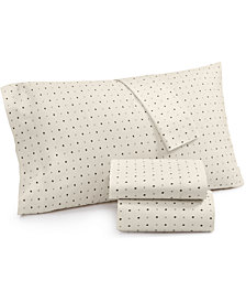 Lucky Brand Cotton Sateen 230-Thread Count Ikat Dot Standard Pillowcase Pair, Created for Macy's