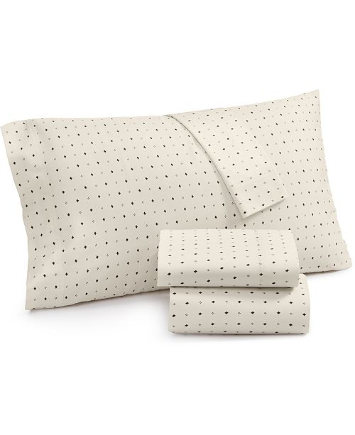 Lucky Brand Cotton Sateen 230-Thread Count 4-Pc. Ikat Dot Full Sheet Set, Created for Macy's