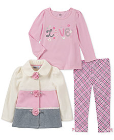 Kids Headquarters Baby Girls 3-Pc. Colorblocked Fleece Jacket, T-Shirt & Leggings Set