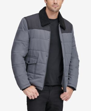 MARC NEW YORK Men'S Howell Quilted Jacket With Fleece-Lined Collar in Gray