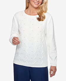 Alfred Dunner Cable-Knit Studded Sweater