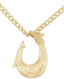 "Fish Hook 24"" Pendant Necklace in Yellow Ion-Plated Stainless Steel"