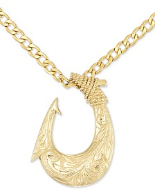"LEGACY for MEN by Simone I. Smith Fish Hook 24"" Pendant Necklace in Yellow Ion-Plated Stainless Steel"