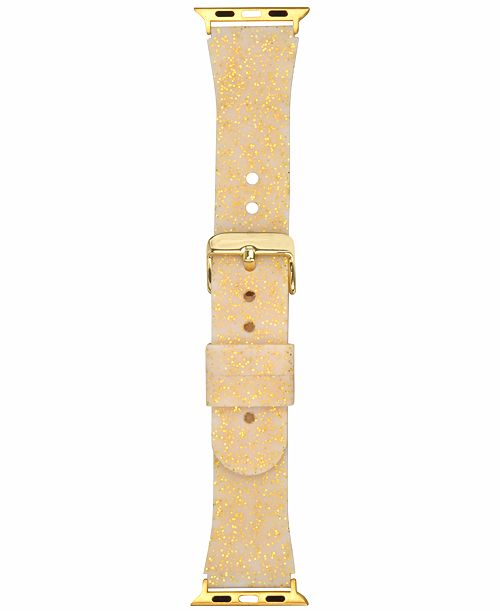 INC International Concepts I.N.C. Women's Gold-Tone Glitter Silicone Apple Watch® Strap, Created for Macy's