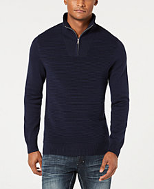 I.N.C. Men's Dean Ottoman Stitch Quarter-Zip Sweater, Created for Macy's