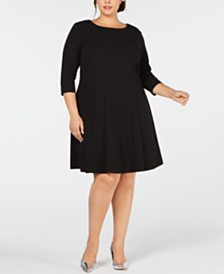 Connected Plus Size 3/4-Sleeve Fit & Flare Dress