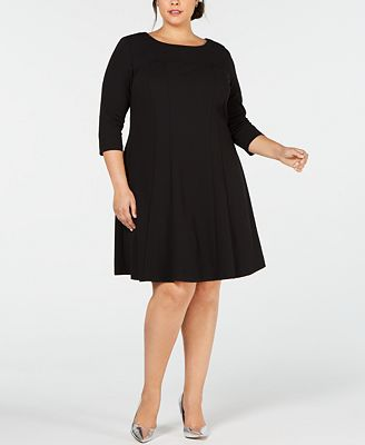 Connected Plus Size 3 4 Sleeve Fit Flare Dress Dresses Women