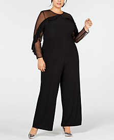 Plus Size Ruffled Illusion Jumpsuit
