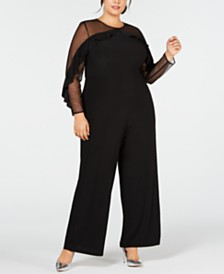 R & M Richards Plus Size Ruffled Illusion Jumpsuit