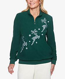 Alfred Dunner Classics Anti-Pill Embroidered Rhinestone-Embellished Sweatshirt