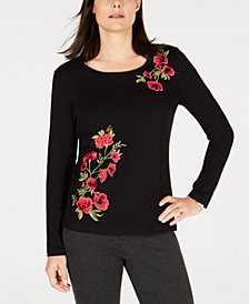 Karen Scott Petite Long Sleeve Rose Top, Created for Macy's