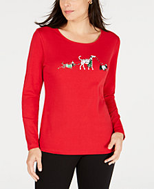 Karen Scott Petite Holiday Dogs Top, Created for Macy's