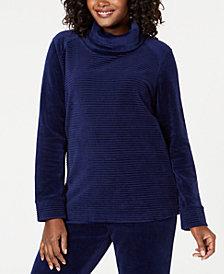 Karen Scott Ribbed Velour Cowl-Neck Top, Created for Macy's