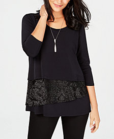 JM Collection Velvet Necklace Tunic, Created for Macy's