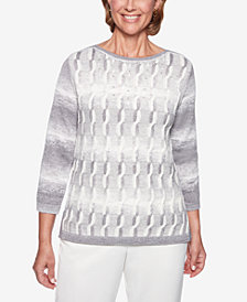 Alfred Dunner Stocking Stuffers Cable-Knit Embellished Sweater